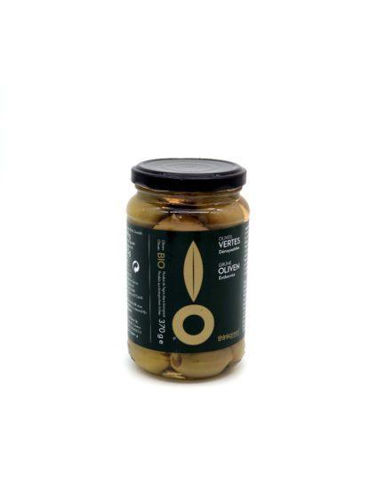 """""""Olives vertes charnues Bio Grèce - Épicerie Valvini - aliments sains, éthiques dans une épicerie de proximité, Rossinière, Vaud et au marché de Carouge à Genève"""""""
